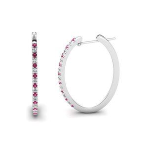Jewelry - White gold Hoop earrings 8.50 ct round pink sapphi